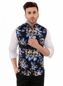 Men's Fashionable and Stylish Printed Nehru Jacket Waistcoat For Party & Weddings Wear (Multi-Color) (Pack of 1)