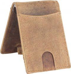 Men Brown Genuine Leather RFID Money Clip  (5 Card Slots)