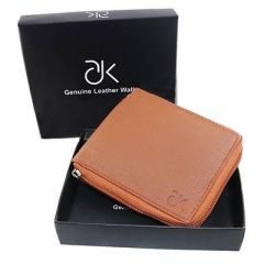 ADK Stylish Artificial Leather Self Design Zip Around Wallet For Men's (Brown) (Pack of 1)