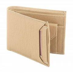 Stylish Leatherette Solid Card Holder Short LengthWallet For Men's (Beige) (Pack of 1)