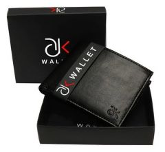 ADK Stylish Artificial Leather Solid Two Folded Wallet For Men's (Black) (Pack of 1)