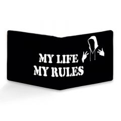 Homary My Life My Rules Printed Two Fold Leather Casual 6 Card Slot Wallet For Men's (Multi-Color) (Pack of 1)