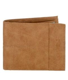 Two Fold Textured Suede Casual 6 Card Slot Semi Formal Wallet For Men's (Tan) (Pack of 1)