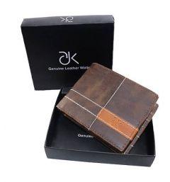 ADK Stylish Artificial Leather Self Design Zip Around Wallet For Men's (Dark Brown) (Pack of 1)