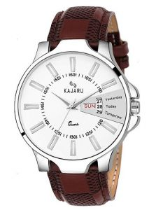 Kajaru Analogue Designer and Stylish Day & Time Watch With Synthetic Leather For Men's (Dark Brown) (Pack of 1)