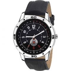 Fashionable and Stylish Wrist Watch With Synthetic Leather For Men's (Black) (Pack of 1)