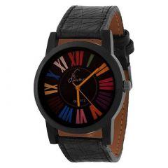 Jack Klein Stylish Synthetic Leather Quartz Analog Wrist Watch For Men's (Black) (Pack of 1)