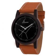 Jack Klein Stylish Black Dial PU Strap Quartz Analog Wrist Watch For Men's (Brown) (Pack of 1)