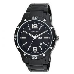 TIMESMITH Stylish Metal Analog Wrist Watch For Men's (Black) (Pack of 1)