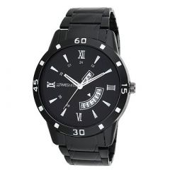 TIMESMITH Stylish Day And Date Metal Analog Wrist Watch For Men's (Black) (Pack of 1)