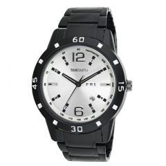TIMESMITH Stylish White Dial Metal Analog Wrist Watch For Men's (Black) (Pack of 1)