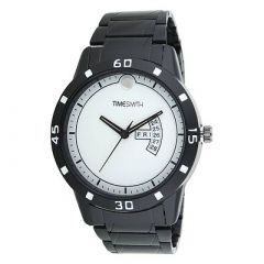 TIMESMITH Stylish SilverDial Metal Analog Wrist Watch For Men's (Black) (Pack of 1)