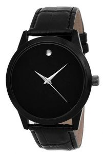 Trendy Stylish Leather Analog Wrist Watch Suitable Party and Weddings For Men's (Black) (Pack of 1)