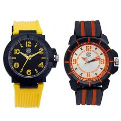Stylish and Trendy Silicone Strap Analog Watch For Men's (Multi-Color ) (Pack of 2)