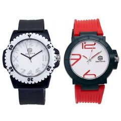 Stylish and Trendy Silicone Strap Analog Watch For Men's (Black & Red) (Pack of 2)