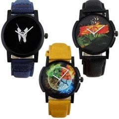 Stylish and Trendy PU Strap Analog Watch For Men's (Multi-Color) (Pack of 3)