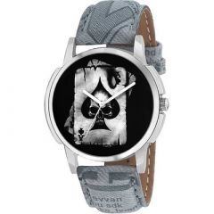 Analogue Designer and Stylish Printed Watch With Synthetic Leather For Men's (Grey) (Pack of 1)