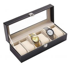 Watch Box Organizer Case for Men and Women with 6 Slots of Watches