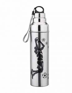 School Kids Steel and Plastic Water Bottle with Various Design (1L|1000ml) (Color: Silver) (Pack of 1)