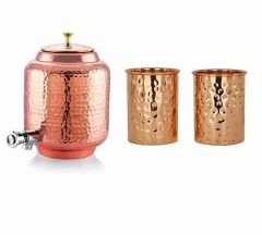 Handmade Hammered Pure Copper Water Container Dispenser Pot Matka with 2 Hammered Copper Glasses Free (12 Litre)