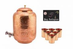 Pure Copper Water Dispenser 8 Liter  mataka with Brass Knob and 6 Pcs Hammered Glasses (Pack of 7)