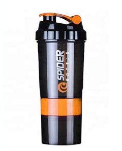Aaradhya Spider Protein Shaker Bottle 500ml with 2 Storage Extra Compartment for Gym (Pack of 1)