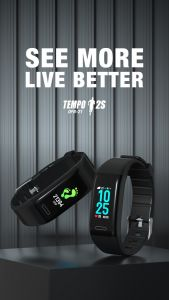 Oraimo OFB-21 Tempo 2S Fitness Band with HD Color Screen| 24/7 Heart Rate| Activity & Sleep Monitor| 8 Training Modes| IP67 Waterproof| Up to 20 Days Standby| BT5.0 Connectivity (Black)