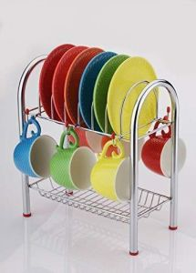 Stainless Steel 2 Layer Plate & Bowl Stand Kitchen Utensil Rack/Cutlery Stand