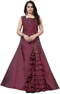 Multi Color Heavy Tafeta Silk Satin Fabric Hendsmooth Desingner Dori Work Squar Neck Sleevesless Long Full Sticthed Gown For Women