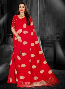 Women New Design Full Embroidered Saree With Blouse Piece (Red)