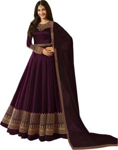 Women's Faux Cotton Satin With Full Embroidery Work Semi-stitched Anarkali Gown