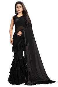 Women's Georgette Ruffle Flair Saree With Blouse Piece (Black)