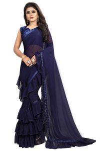 Women's Georgette Ruffle Flair Saree With Blouse Piece (Blue)