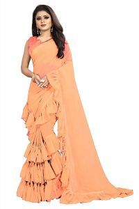 Women's Georgette Ruffle Flair Saree With Blouse Piece (Beige)