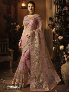Women's Designer Net Embroidered Saree with Blouse piece