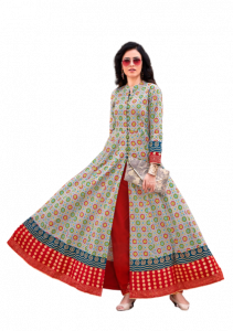 Kajal Style Cotton With Print Dress For Women (Multi-Color)