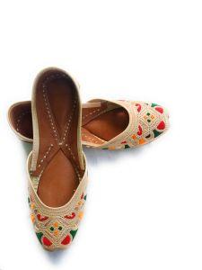 Culture Punjabi Jutti | Pure Leather Sole | Handmade Punjabi Jutti | Color Badami Touch | Best Quality Leather | Ladies Daily Wear Punjabi Jutti
