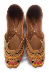 Culture Punjabi Jutti | Pure Leather Sole | Handmade Punjabi Jutti | Color Brown (Badami Touch) | Best Quality Leather | Ladies Daily Wear Punjabi Jutti