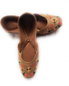 Culture Punjabi Jutti | Pure Leather Sole | Handmade Punjabi Jutti | Color Dark Brown (Badami Touch) | Best Quality Leather | Ladies Daily Wear Punjabi Jutti