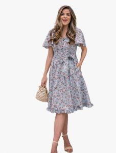 Bagrecha Creations Lizza Western Poli-Rayon Cotton Printed A-Line | Knee Length Dress for Women