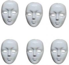 PTCMART White Simple Plastic Face Mask For Party Mask (Multicolor, Pack of 6)