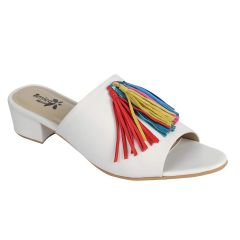 Sakhicollection Women's Casual/Fancy Comfortable Slip-on Sandals & Mules (White)