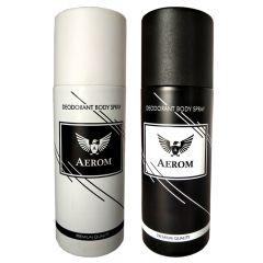 Aerom White & Black Premium Quality Deodorant Body Spray For Men 150 ml each (Pack of 2)