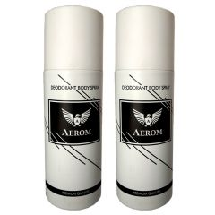 Aerom White & White Premium Quality Deodorant Body Spray For Men (Pack of 2, 150 ml Each)