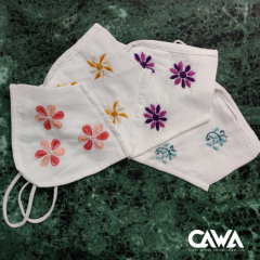 Cawa Double Layered Pure Cotton Light & Easy To Breathe Through Hand-Washable Eco-friendly Booti Embroidery Chikankari Masks (Packs of 4) | (Color: White)