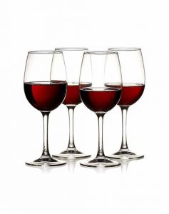 Red and White Big Wine Glasses Set for Beverage Party (Pack of 4)