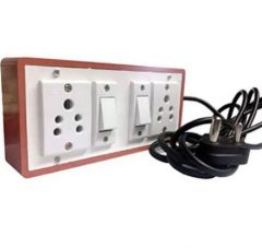 Anchor Pins N Plugs Extension Board 5A 2 Switches + 5A 2 Socket and 3 meters Long Wire Power Strip (Brown)