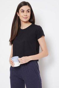 Clovia Cotton Chic Basic Short Sleeve Crop Tees for Women & Girls (Black)