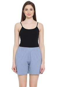 Clovia 100% Cotton Rich Boxer Shorts for Women & Girls (Grey)