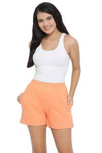 Clovia 100% Cotton Rich Boxer Shorts for Women & Girls (Peach)